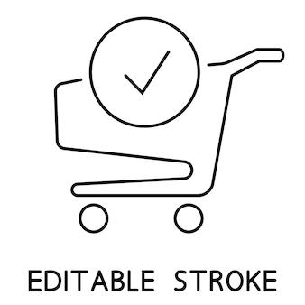 Einkaufswagen und häkchensymbol. die bestellung ist abgeschlossen. eine bestellung aufgeben. trolley-symbol für online-marketing und -shopping. online-shop. komplett einkaufen, bezahlen. vektor isoliert auf weißem hintergrund