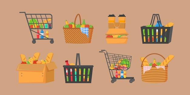 Einkaufswagen voller lebensmittel, obst, produkte und lebensmittel. einkaufskorb mit frischen lebensmitteln und getränken. lebensmittelgeschäft, supermarkt. eine reihe von frischen, gesunden und natürlichen produkten.