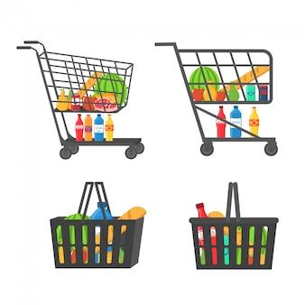 Einkaufswagen voller lebensmittel, obst, produkte und lebensmittel. einkaufskorb mit frischen lebensmitteln und getränken. lebensmittelgeschäft, supermarkt. eine reihe von frischen, gesunden und natürlichen produkten. .
