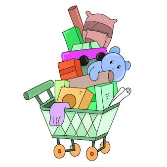 Einkaufswagen voller leckereien. vektor-illustration cartoon-doodle-kunst