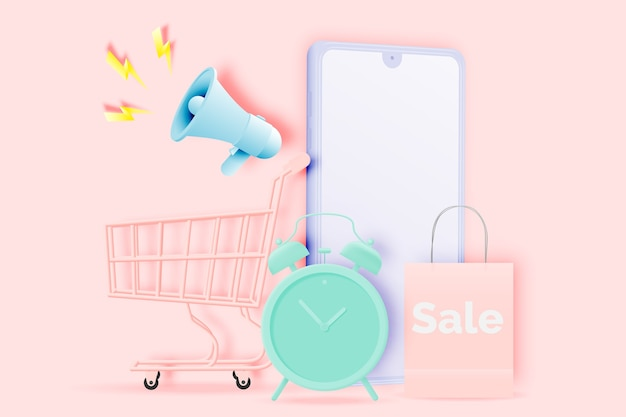 Einkaufswagen zum verkauf banner im papierkunststil und pastellschema