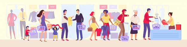 Einkaufswarteschlange in der bekleidungsgeschäftillustration, warteschlange der gruppe von leuten im geschäft während des verkaufs, mannschaftsschlangen der zeichentrickfigur in der schlange.