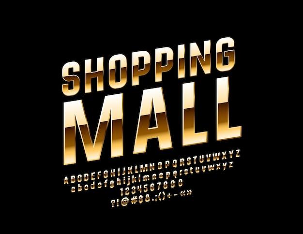 Einkaufszentrum bright glossy font elite alphabet buchstaben und zahlen gesetzt