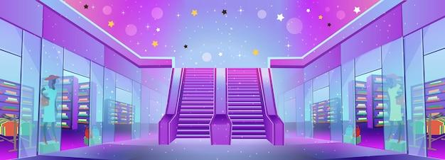 Einkaufszentrum mit geschäften und einer rolltreppe. konzept von big sale oder mobile marketing und e-commerce. cartoon-illustration.
