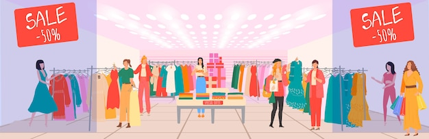 Einkaufszentrum mit geschäften, verkauf von damenbekleidung und boutique-raum innenmode kunden glückliche frauen cartoon-illustration.
