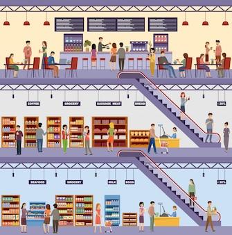 Einkaufszentrum. supermarkt. hochhausladen. cafe. produkte, milch, brot, lebensmittel, meeresfrüchte, fleisch. männer und frauen kaufen lebensmittel