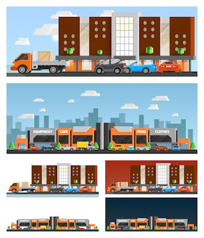 Einkaufszentrum und stadtkompositionen