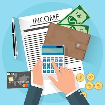 Einkommensillustration mit geschäftsmann
