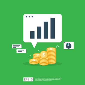 Einkommenslohn-dollar-zinserhöhungsstatistik. umsatz mit gewinnwachstumsmargen. finanzleistung des anlagenrendite-roi-konzepts mit pfeil. kosten verkauf symbol flache