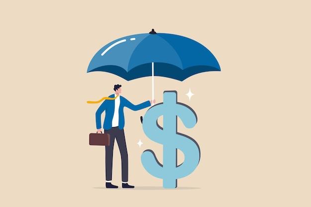 Einkommensschutzversicherung, schutz von geld oder anlagevermögen, sichere ersparnisse im wirtschaftskrisenkonzept, vertrauensgeschäftsmann, der mit großem regenschirm bedecktes dollarzeichengeld hält.