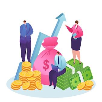 Einkommenssteigerung, gewinn oder finanzielles wachstumskonzept. stapel geld nach oben pfeil und goldmünzen, dollar. budget, einkommensdiagramm und geschäftsmann im stil. geschäftlicher erfolg.
