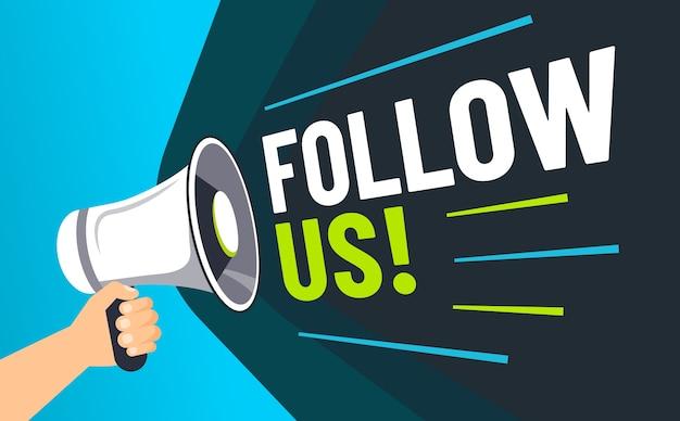 Einladende follower, lautsprecher in der hand laden follower ein und werben für soziale medien