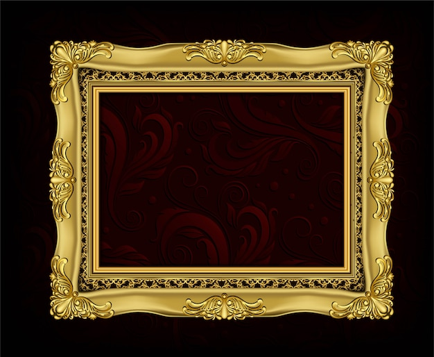 Einladung des goldenen foto-feldvektordesigns