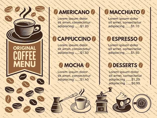 Einladung ins cafe. menü des kaffeehauses. bilder im vektor-stil