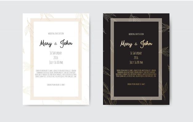 Einladung mit handgemachten floralen elementen. hochzeitseinladungskarten mit floralen elementen