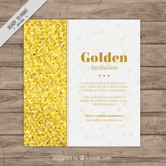Einladung vorlage mit goldenen konfetti