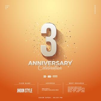 Einladung zum 3. jahrestag mit einfacher 3d-zahlenillustration