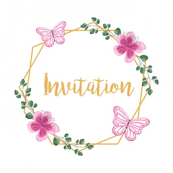 Einladung zum dekorativen rahmen der blume