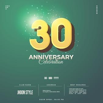 Einladung zur feier zum 30-jährigen jubiläum mit erhabenen gelben zahlen