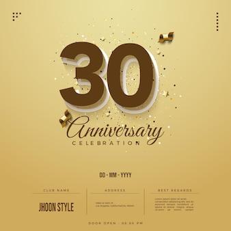 Einladung zur feier zum 30-jährigen jubiläum mit schokoladennummern