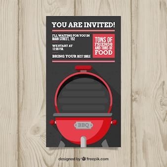 Einladung zur grillparty im flachen design