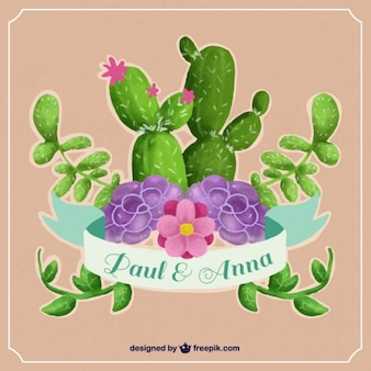 Einladung zur hochzeit mit aquarell kaktus