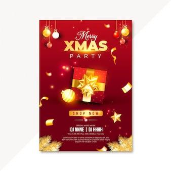 Einladung zur weihnachtsfeier mit roter geschenkbox