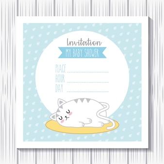 Einladungs-babyparty-kaninchen kawaii schlaf-cartoonkarte