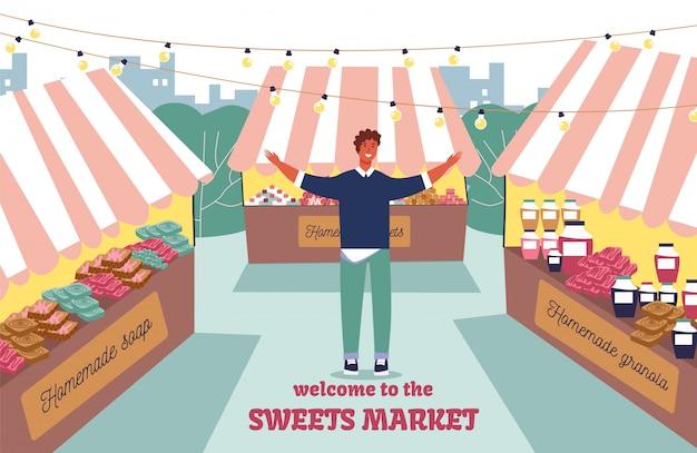 Einladungs-flaches plakat, das zum straßenmarkt begrüßt
