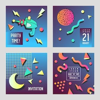 Einladungs-glückwunschkarten stellen memphis-stil ein.