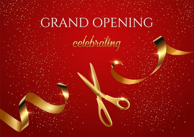 Einladungsbanner zur feierlichen eröffnung mit glänzender schere, die goldenes band durchschneidet
