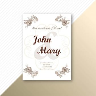 Einladungshochzeitskarte dekorative blumenschablone