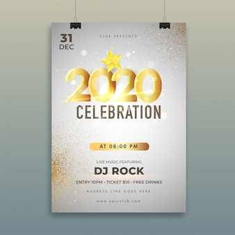 Einladungskarte der feier mit 2020 plakaten mit stern-, zeit-, datums- und ortdetails.