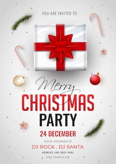 Einladungskarte der frohen weihnachtsfeier mit draufsicht der geschenkbox, des flitters, der zuckerstange und der ereignisdetails