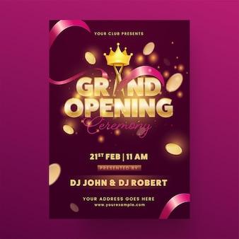Einladungskarte der großen eröffnungsfeier mit lichteffekt