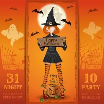 Einladungskarte für eine halloween-nachtparty. essen, trinken, angst haben.