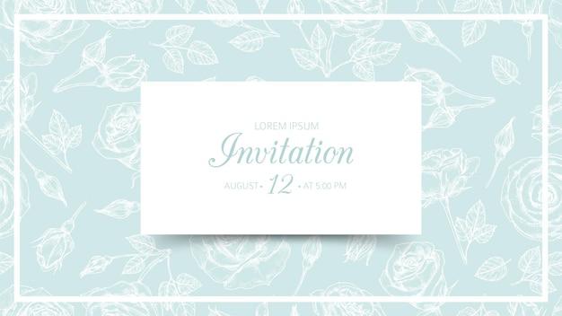 Einladungskarte lokalisiert auf nahtlosem blumenmuster auf grün