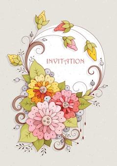 Einladungskarte mit abstrakten blumen und knospen von rosa, rot und gelb.