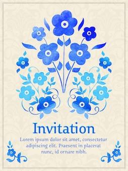 Einladungskarte mit aquarell blumenelement auf dem hellen damasthintergrund.