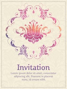 Einladungskarte mit aquarell damast element auf dem hellen damast hintergrund