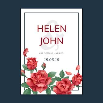Einladungskarte mit einem roten farbschema