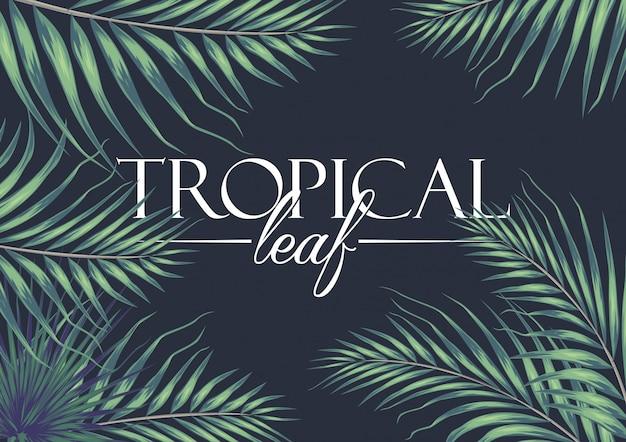 Einladungskarte mit exotischen tropischen blättern hintergrund