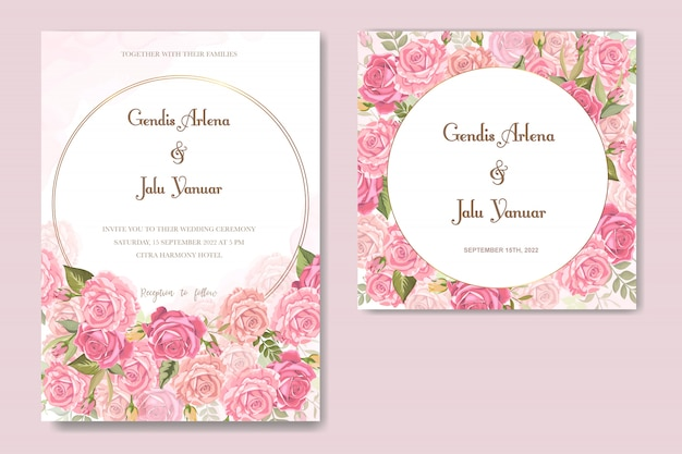 Einladungskarte mit schönen blumen und blättern