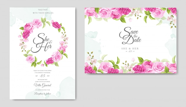 Einladungskarte mit schönen gelben und rosa rosen vorlage