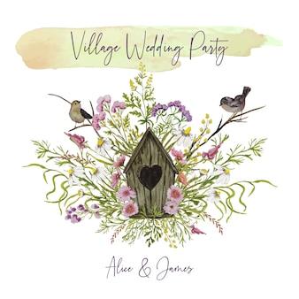 Einladungskarte mit vogelhaus und herbstblumen