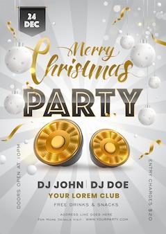 Einladungskarte oder flyer mit hängenden kugeln, tieftöner und event-details für die merry christmas party.