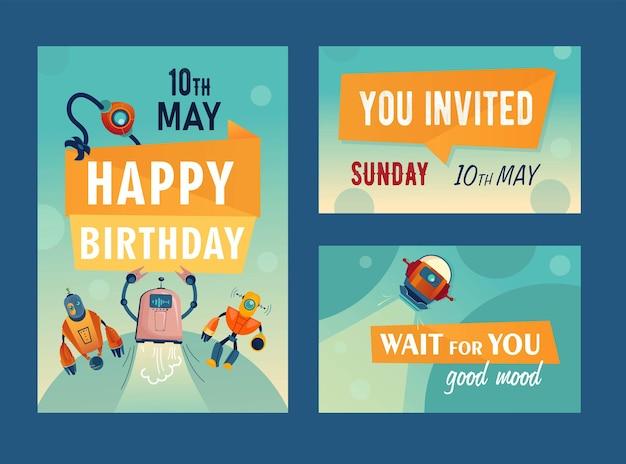 Einladungskarten mit cartoon-robotern. maschinen, cyborgs, assistentenillustrationen mit text und datum