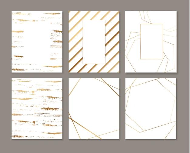 Einladungskarten mit goldenen geometrischen polygonalen gestaltungselementen. luxus einladen