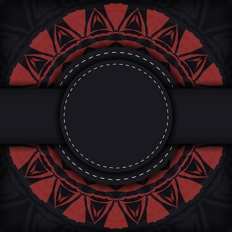 Einladungskartendesign mit platz für ihren text und abstrakte muster. luxuriöses, druckfertiges, schwarzes postkartendesign mit roten griechischen mustern.