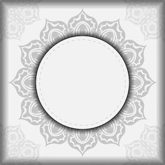 Einladungskartendesign mit platz für ihren text und ihre muster. vektor bereit, weißes postkartendesign mit schwarzen mandalamustern zu drucken.